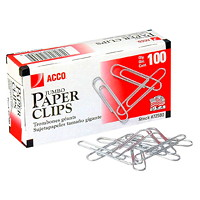 Acco Paper Clips, #4 Jumbo, Heavy-Gauge Elliptical Wire, Smooth Finish, Silver, 100/PK