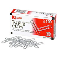 Acco Paper Clips, #4, Corrugated Finish, Silver, 100/BX