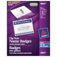 Avery Garment-Friendly Clip-Style Name Badge Kit, White, 4