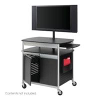 Safco Scoot Flat Panel Multimedia Cart, Black, 39 1/2