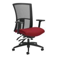 Global Vion High-Back Multi-Tilter Chair, Candy Apple Red Imprint Fabric Seat/Black Mesh Back