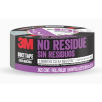 3M No Residue Duct Tape, Black, 48 mm x 22.8 m