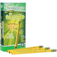 Dixon Ticonderoga My First Tri-Write Triangular Primary Size Pencils With Eraser, #2 HB, Yellow, 36/BX