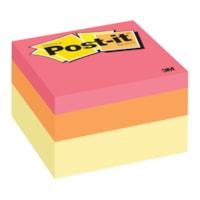 Feuillets de couleurs variées Post-it, vague canari, 3 po x 3 po, cube de 400 feuillets, emb. de 1