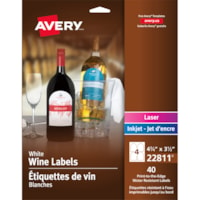 Avery 22811 Water-Resistant Wine Labels, White, Arched, 4 3/4