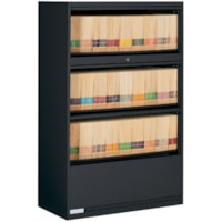 Global 9100 4-High End Tab Lateral File Cabinet, Black, 36