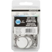 Merangue Metal Rim Key Tags, Silver, 1 1/4 dia., 50/PK