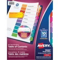 Intercalaires durables avec table des matières à onglets non imprimés Ready Index Avery