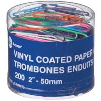 Acme Vinyl-Coated Paper Clips, Assorted Colours, 2