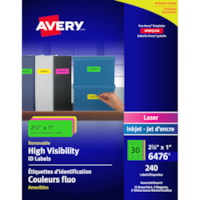 Avery 6476 High-Visibility Neon Removable ID Labels, 2 5/8