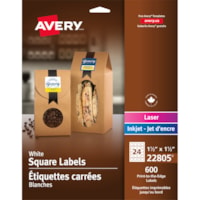 Avery 22805 Print-to-the-Edge Permanent Square Labels, White, 1 1/2