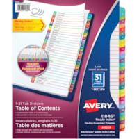 Intercalaires à onglets multicolores avec table des matières personnalisable Ready Index Avery