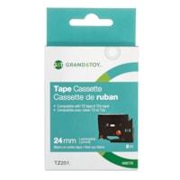 Grand & Toy Sign TZe Black Type On White Label Tape Cassette, 24 mm (1