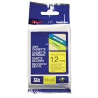 Cassette de ruban pour étiquettes TZe Brother, impression noir sur jaune, 12 mm x 8 m