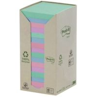 Post-it 100% Recycled Notes Tower Pack, Pastel Rainbow Colours, 3