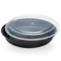 Café Express Round Take Out Containers, Black with Clear Lids, 1,000 mL Capacity, 150/CT