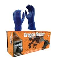 Gants en caoutchouc naturel jetables Grease Monkey, 15 mils, bleu, grand, boîte de 50