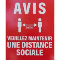 Autocollants de distanciation sociale pour fenêtre Onyx + Blue, français, blanc sur rouge, 12 po x 15 po, emb. de 6
