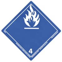 TDG Regulation Labels, Blue with White, Non-Worded, Dangerous When Wet, 4