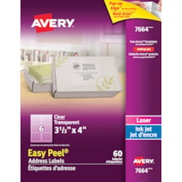 Avery 7664 Glossy Easy Peel Address Labels, Clear, 3 1/3