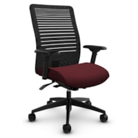 Global Loover Mid-Back Mesh-Back Weight Sensing Synchro-Tilter Chair, Cerise Red, Terrace Fabric
