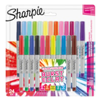 Sharpie Permanent Markers, Burst, Assorted Colours, Ultra Fine Tip, 24/PK