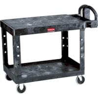 Rubbermaid Commercial Heavy-Duty 2-Shelf Ergo Handle Utility Cart, Black, Flat-Shelf, Medium Size, 500 lb. Capacity