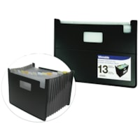 Winnable 13-Pocket Upright Open-Top Expanding Desktop File, Black, Letter Size