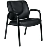 Offices To Go Centro Guest Chair, Black Luxhide Bonded Leather