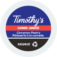 Timothy's® Single-Serve Coffee K-Cup Pods, Cinnamon Pastry Flavoured, Box of 24