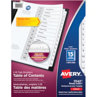 Avery Ready Index Customizable Table of Contents Dividers, Black and White, Numbered (1-15), Letter-Size, 15 Tabs/ST, 1 Set/PK