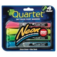 Quartet® Neon Dry-Erase Paint Markers, Bullet Tip, Assorted Colors, 4-Pack