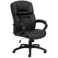Offices To Go Pacific High-Back Tilter Chair, Black, Bonded Luxhide Leather