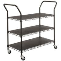 Safco 3-Shelf Wire Black Utility Cart, 43 3/4