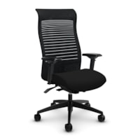 Global Loover High-Back Office Chair With Weight-Sensing Synchro Tilter, Echo Black, Terrace Fabric