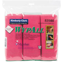 WypAll Microfibre General Purpose Cloths with Microban Protection, Red, 6/PK