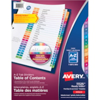 Avery Ready Index Customizable Table of Contents Dividers, White with Multi-Coloured Tabs, Alphabetical (A-Z), Letter-Size, 26 Tabs/ST, 1 Set/PK