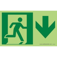 Enseigne de sortie photoluminescente homme qui court (brille dans l'obscurité) Safety Media