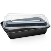 Café Express Rectangular Take Out Containers, Black with Clear Lids, 475 mL Capacity, 150/CT
