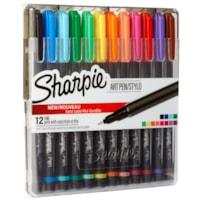 Sharpie Art Pens With Hard Case, Assorted Colours, Fine 0.8 mm, 12/PK