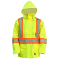Open Road High-Visibility 150D Large Bright Green Safety Rain Jacket