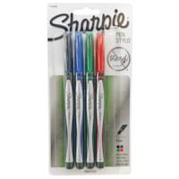 Sharpie Permanent Pen, Assorted Colours, Fine 0.8 mm, 4/PK