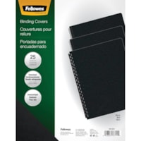 Fellowes Futura Oversize Unpunched Binding Covers, Black, Letter Size, 25/PK