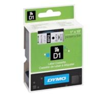 Cassette de ruban pour étiqueteuse D1 DYMO, impression noir sur blanc, 24 mm x 3 m