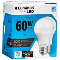 Luminus LED Lightbulb, A19, 9W, Dimmable, Daylight, 2/Pk