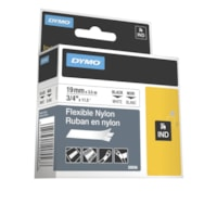 Ruban en nylon souple de qualité industrielle pour étiqueteuse Rhino DYMO, impression noir sur blanc, 19 mm x 3 1/2 m (3/4 po x 11 1/2 pi)