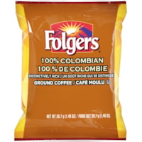 Folgers Ground Coffee Portion Packs, 100% Colombian, 1.4 oz, 42/BX