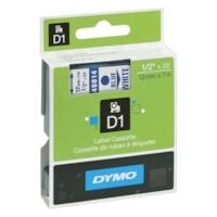 DYMO D1 Label Cassette, Blue Type/White Tape, 12 mm x 7 m