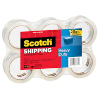 Scotch® Heavy Duty Shipping Packaging Tape, Transparent, 48 mm x 50 m, Package of 6 Rolls