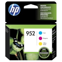 HP 952 Cyan, Magenta and Yellow Standard Yield Ink Cartridges, 3/PK (N9K27AN)